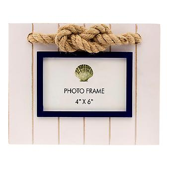 White Blue Maritime 4X6 Photo Frame Rope Sailors Knot Accent Wood Tabletop Decor
