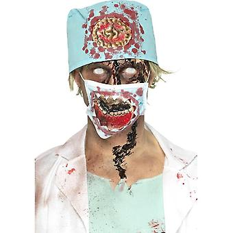 Smiffy's Zombie Surgeon Kit, Blue, With Latex Exposed Mouth Mask & Hat