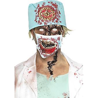 Smiffy's Zombie kirurgi Kit, sininen latex alttiina suun maskin & hattu