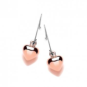 Cavendish French Silver and Copper Puffed Heart Drop Earrings