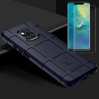 For Huawei kompis 20 Pro skjerme tilfelle TPU silikon blå + 0,3 H9 4 d full kurven temperament barometer bag coveret erme