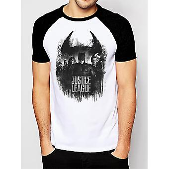 Justice League Movie - Group And Logo (Unisex Raglan)   T-Sh