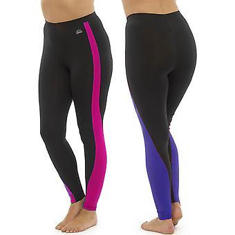 2Pk Ladies Tom Franks Two Tone Sport Fitness Yoga Gym Leggings Fashion SML-Pink-Purple