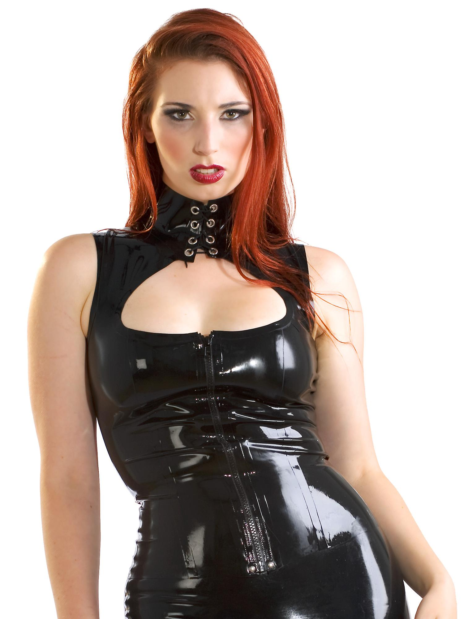 Skin Two Clothing Women's Kinky Rubber Top Long Keyhole in Black Latex