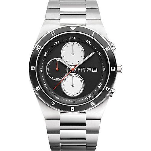 Bering Solar Silver Silver Stainless Steel Strap Mens Watches 34440-702 44mm