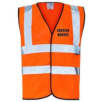 Hi Viz Orange Vis Vests Caution Horses