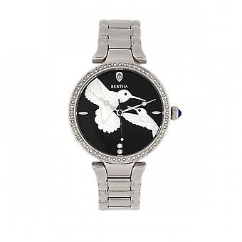 Relógio do bracelete de Nora de Bertha - preto / prata