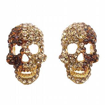 Brincos de cabeça crânio w / brincos de cristais de topázio fumado & sombra dourada