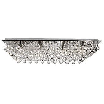 Hanna 8 Flush di Chrome luce luce di soffitto con decorazioni in cristallo - Searchlight 6728-8CC
