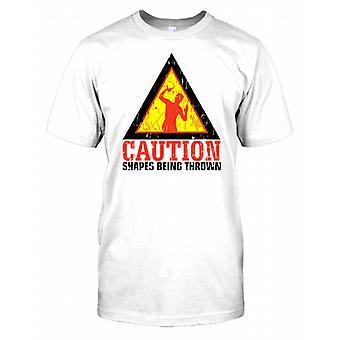 Vorsicht wird geworfen - lustige Formen Mens-T-Shirt