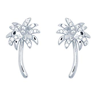 Ah! Jewellery Palm Tree Stud Earrings With Crystals from Swarovski Sterling Silver