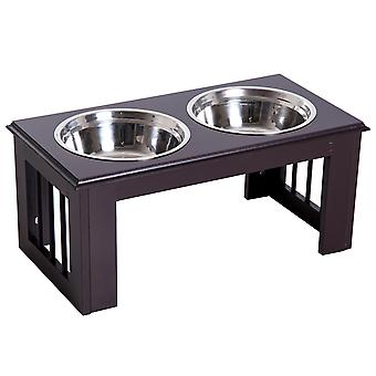 PawHut Stainless Steel Pet Feeding Bowl Raised Elevated Twin Dog Bowls Water Food Feeder 58.4L x 30.5W x 25.4H cm - Brown