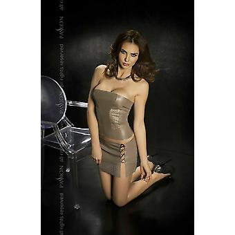 Passion Lingerie Nessa Grey Faux Leather Bustier Top & Mini Skirt