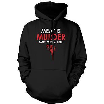 Mens Hoodie - Meat Is Murder, Tasty Tasty Murder - Funny