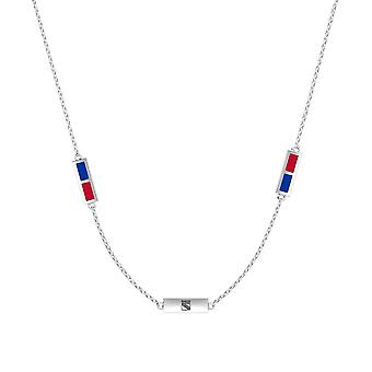 New York Rangers Sterling Silver Engraved Triple Station Necklace In Blue & Red
