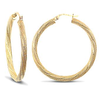 Jewelco Londen dames 9ct Yellow Gold Snake Skin twisted 3mm hoepel oorbellen 35mm