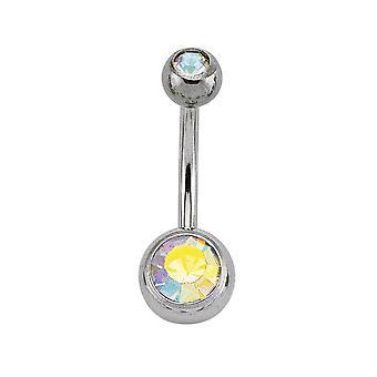 Jewelco London Surgical Steel Rainbow Round Crystal Bubble Belly Bar ze srebrną piłką