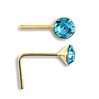 Jewelco London Ladies Solid 9ct Yellow Gold Aqua Blue Round Crystal Solitaire Nose Stud 2mm