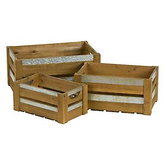 Hill Interiors Loft Collection Wooden Crates With Metal Braces (Set Of 3)