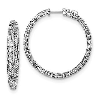 925 Sterling Silver Pave Polished Rhodium plated Com CZ Cubic Zirconia Simulated Diamond Hinged Hoop Ear