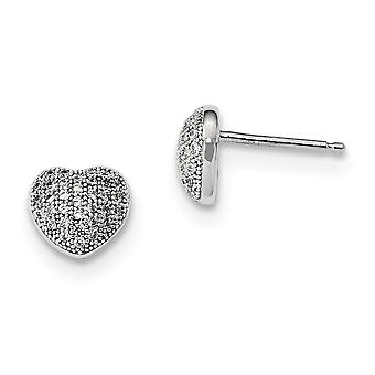 925 Sterling Silver Pave Rhodium plated and CZ Cubic Zirconia Simulated Diamond Polished Love Heart Post Earrings Jewelr