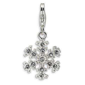925 Sterling Zilver Rhodium verguld Fancy Kreeft Sluiting Glas steen snowflake met kreeft gesp charme hanger ketting