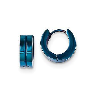 נירוסטה מלוטש כחול IP מצופה עגילי חישוק ציר מידות 13x13mm רחב 5mm עבה מתנות תכשיטים לנשים