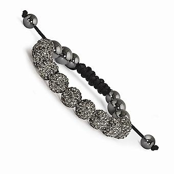 Slip on Adjustable 10mm Grey Crystal and Hematite Beads Black Cord Bracelet Jewelry Gifts for Women