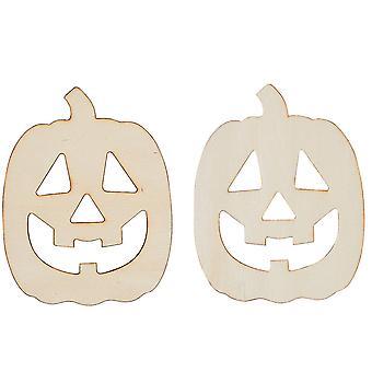 12 DIY Unfinished Wood Jack 'O' Lantern Pumpkin Shapes - Halloween Crafts
