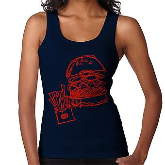 Zits Red Hamburger And Fries Doodle Women's Vest