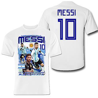 Messi Tshirt Barcelona e Argentina camisola com frente de impressão e traseira