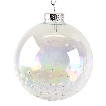 Einzelne klare Glaskugel mit schillernden weißen Glitter Schnee Verschönerung