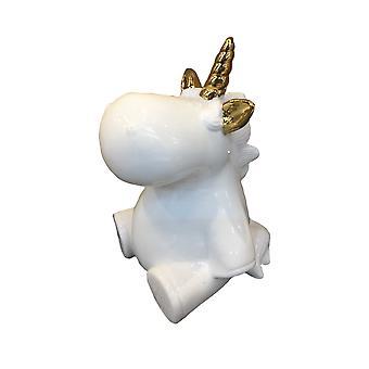 Decorative Ceramic Baby Unicorn Figurine, White and Gold