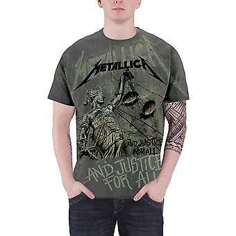 Metallica T Shirt Justice for all Neon Official Mens New Grey All Over Print