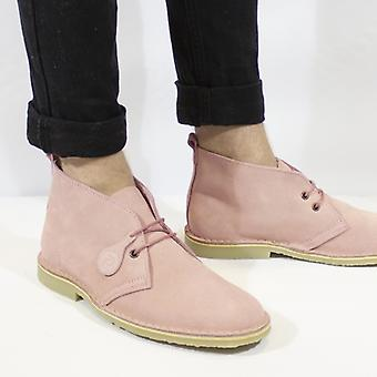 Popps Colore Unisex Suede Desert Boots Rosa Rosa