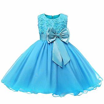 Festive dress with rosette and flowers-turquoise
