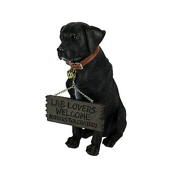 Black Lab Dog Indoor Outdoor Welcome Statue with Reversible Message Sign