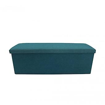 Meubilair Rebecca poef padded zittend blauw vouwen 38x110x38