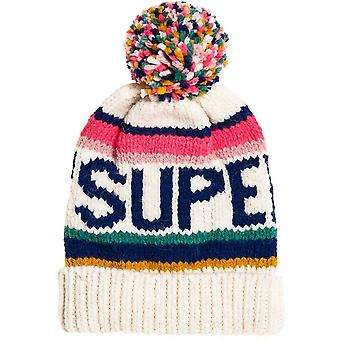 Superdry 90s Nostalgia Logo Bobble Beanie Hat Cream 69
