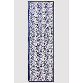 Premium crepe halsduk i blått & vit