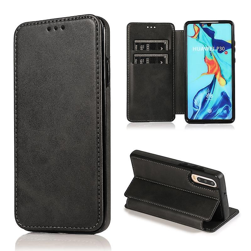 CaseGate phone case case cover for Huawei P30 case cover - in black - magnetic clasp, stand function and card compartment