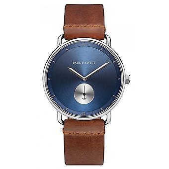 Paul Hewitt pH-BW-S-NS-57M Watch-pulseira de couro marrom Bo Tier aço homens de prata