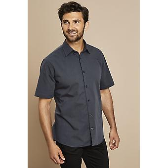 SIMON JERSEY Men's Chambray Short Sleeve Modern Fit Shirt, Charcoal