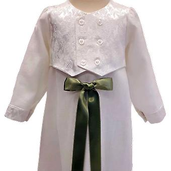 Christening dress Grace Of Sweden - Shiny West And Light Olive Green Bow.