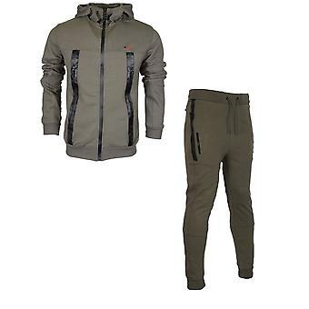 Born Rich Smalling Redknapp Hooded Zip Up Khaki Tracksuit
