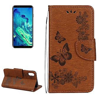 Für iPhone XS, X Brieftasche Fall, gepresste Blumen Schmetterling Leder Bezug, braun