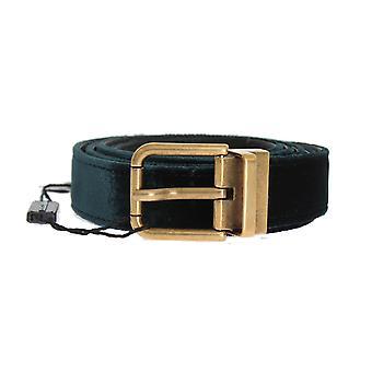Dolce & Gabbana Green Velvet Lederen Gouden Gesp Riem