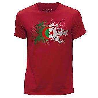 STUFF4 Herren Runde Hals T-Shirt/Algerien/algerische Flagge Splat/rot