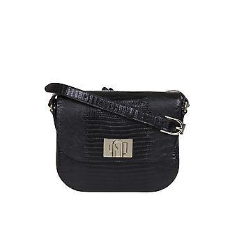 Furla 1065990 Women's Black Leather Shoulder Bag