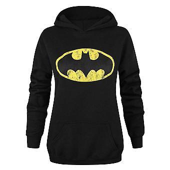 Batman Womens/Ladies Distressed Logo Hoodie